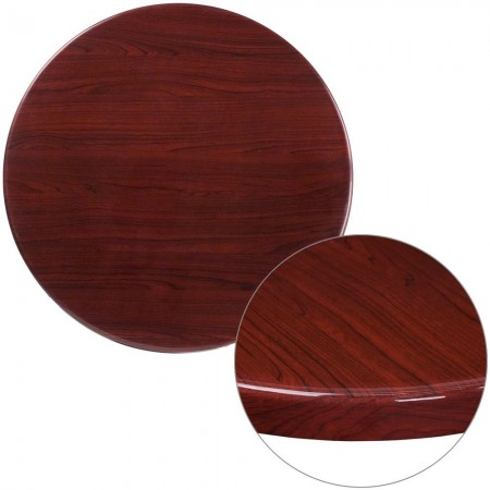 "Flash Furniture TP-MAH-30RD-GG 30"" Round High-Gloss Mahogany Resin Table Top with 2"" Thick Drop-Lip"
