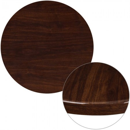 """Flash Furniture TP-MAH-30RD-GG 30"""" Round High-Gloss Mahogany Resin Table Top with 2"""" Thick Drop-Lip"""