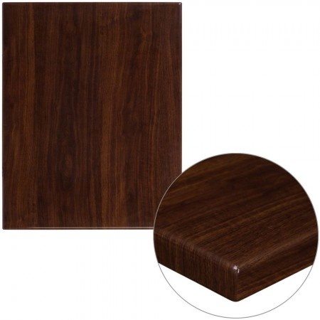 """Flash Furniture TP-WAL-2430-GG 24"""" x 30"""" Rectangular High-Gloss Walnut Resin Table Top with 2"""" Thick Edge"""