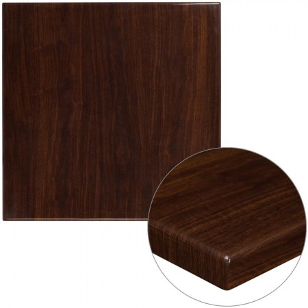 "Flash Furniture TP-WAL-3030-GG 30"" Square High-Gloss Walnut Resin Table Top with 2"" Thick Drop-Lip"