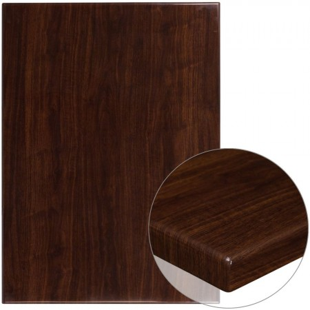 """Flash Furniture TP-WAL-3042-GG 30"""" x 42"""" Rectangular High-Gloss Walnut Resin Table Top with 2"""" Thick Edge"""