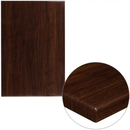 "Flash Furniture TP-WAL-3045-GG 30"" x 45"" Rectangular High-Gloss Walnut Resin Table Top with 2"" Thick Edge"