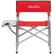 Flash Furniture TY1104 Aluminum Folding Camping Chair with Table and Drink Holder