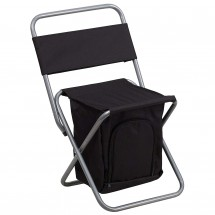 Flash Furniture TY1262-BK-GG Black Folding Camping Chair with Insulated Storage