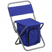 Flash Furniture TY1262-BL-GG Blue Folding Camping Chair with Insulated Storage