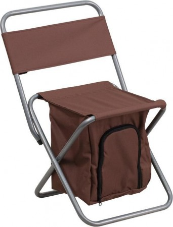 Flash Furniture TY1262-BN-GG Brown Folding Camping Chair with Insulated Storage