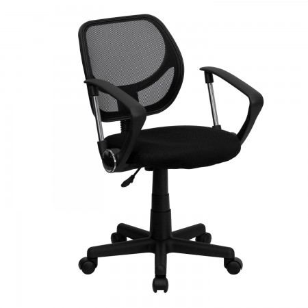 Flash Furniture WA-3074-BK-A-GG Mid-Back Black Mesh Task Chair with Arms
