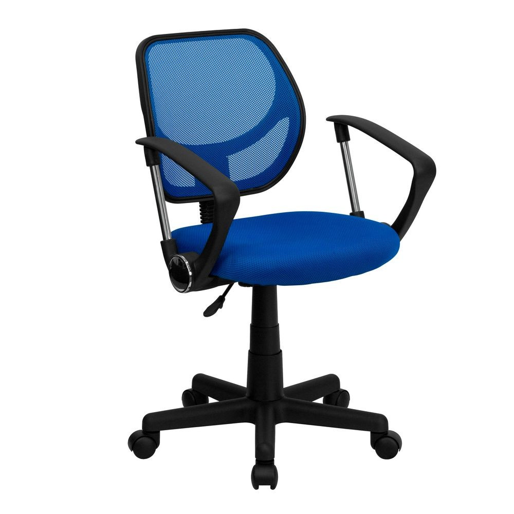 Flash Furniture WA-3074-BL-A-GG Mid-Back Blue Mesh Task Chair and Computer Chair with Arms