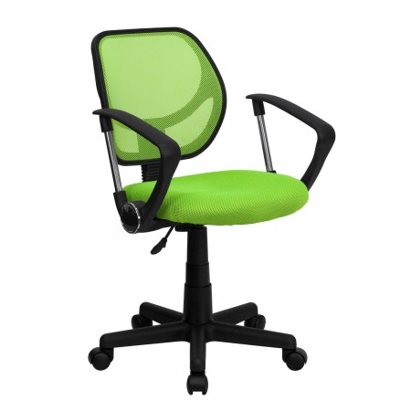 Flash Furniture WA-3074-GN-A-GG Mid-Back Green Mesh Task Chair with Arms