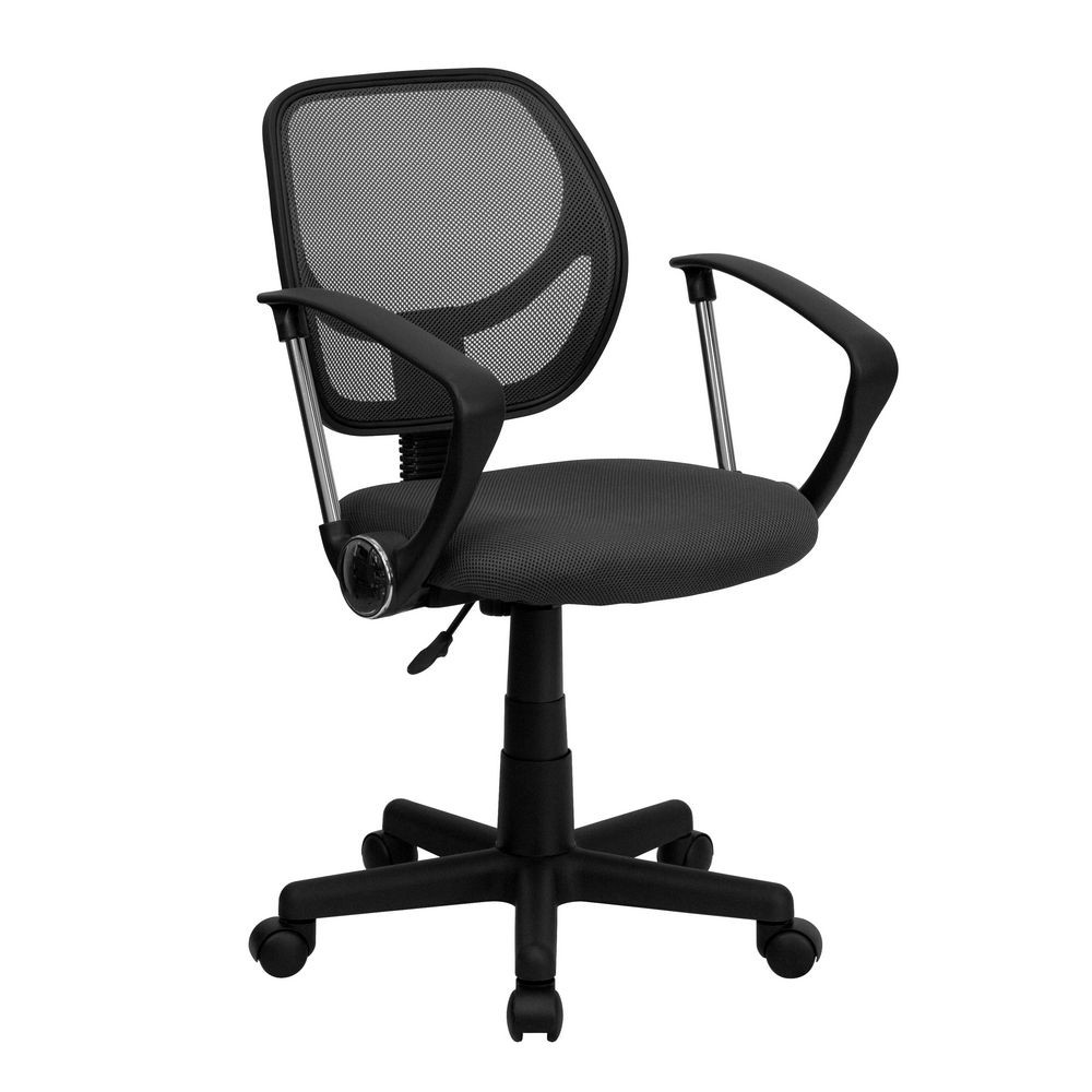 Flash Furniture WA-3074-GY-A-GG Mid-Back Gray Mesh Task Chair and Computer Chair with Arms