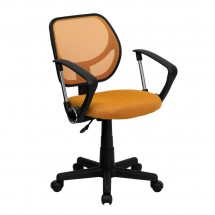Flash Furniture WA-3074-OR-A-GG Mid-Back Orange Mesh Task Chair and Computer Chair with Arms