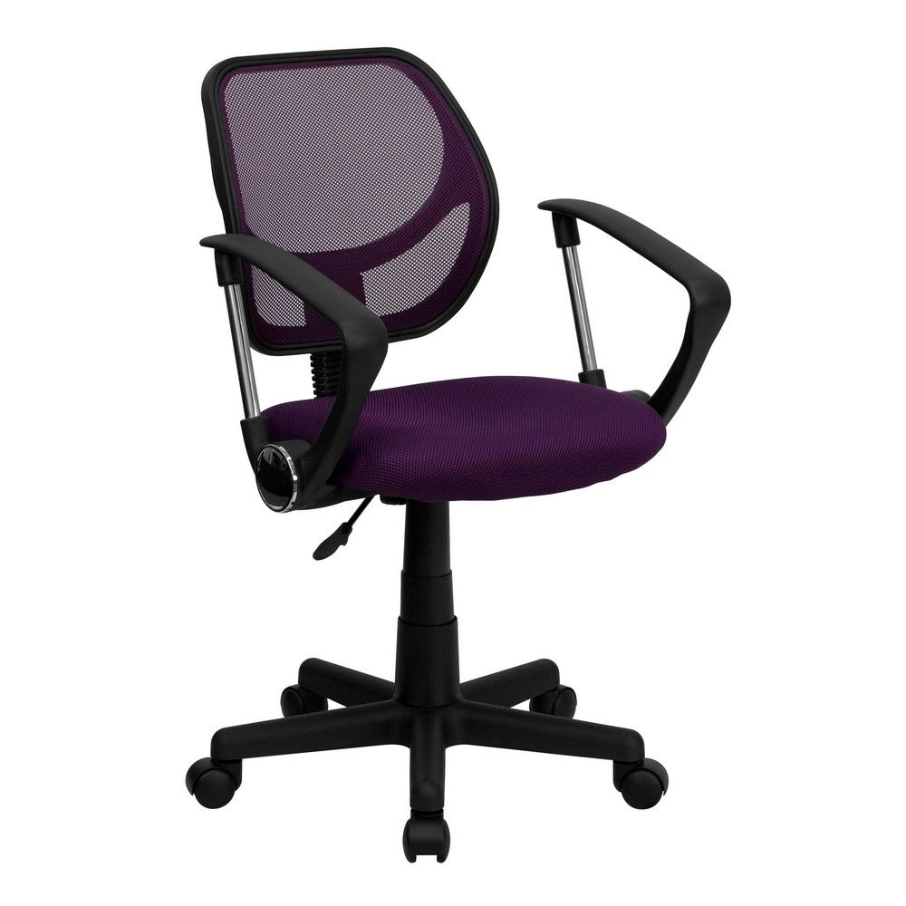Flash Furniture WA-3074-PUR-A-GG Mid-Back Purple Mesh Task Chair and Computer Chair with Arms