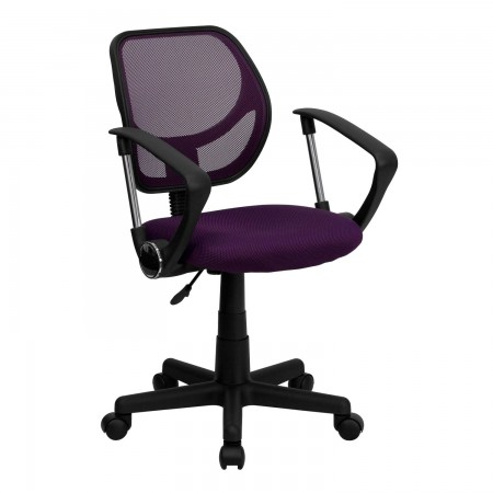 Flash Furniture WA-3074-PUR-A-GG Mid-Back Purple Mesh Task Chair with Arms