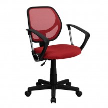 Flash Furniture WA-3074-RD-A-GG Mid-Back Red Mesh Task Chair and Computer Chair with Arms