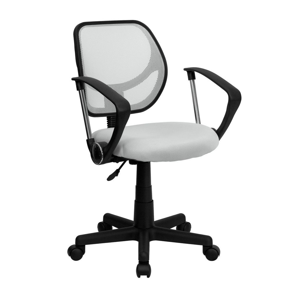 Flash Furniture WA-3074-WHT-A-GG Mid-Back White Mesh Task Chair and Computer Chair with Arms