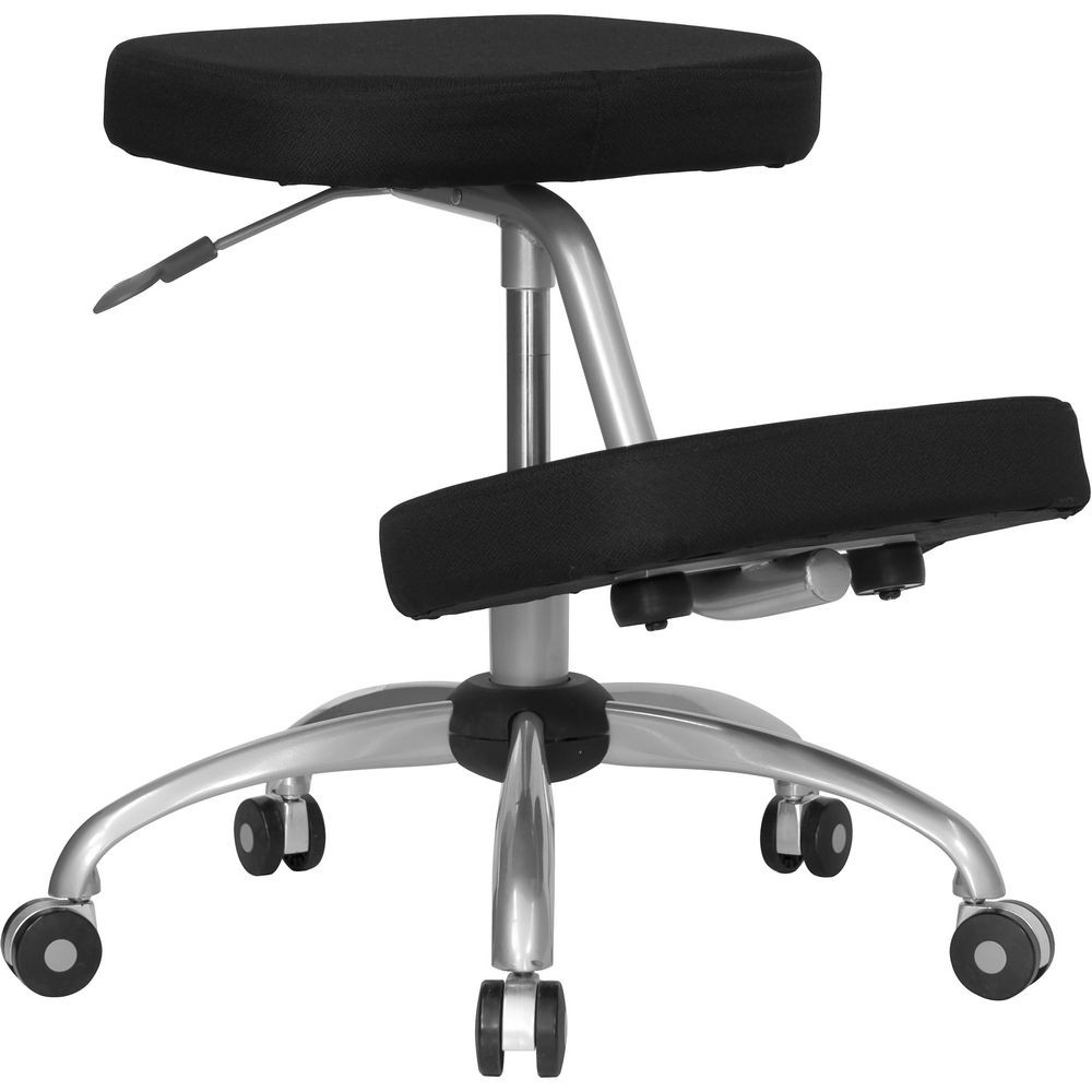 Flash Furniture WL-1425-GG Mobile Ergonomic Kneeling Chair in Black Fabric with Silver Powder Coated Frame