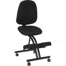 Flash Furniture WL-1428-GG Mobile Ergonomic Kneeling Posture Chair in Black Fabric with Back