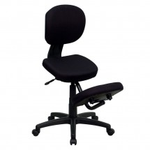 Flash Furniture WL-1430-GG Mobile Ergonomic Kneeling Posture Task Chair in Black Fabric with Back