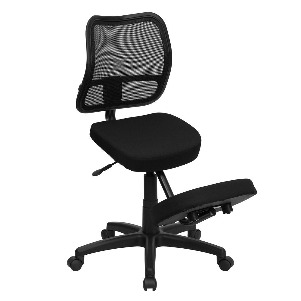 Flash Furniture WL-3425-GG Mobile Ergonomic Kneeling Task Chair with Black Curved Mesh Back and Fabric Seat