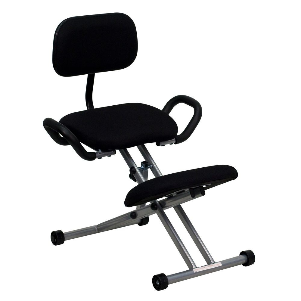 Flash Furniture WL-3439-GG Ergonomic Kneeling Chair in Black Fabric with Back and Handles