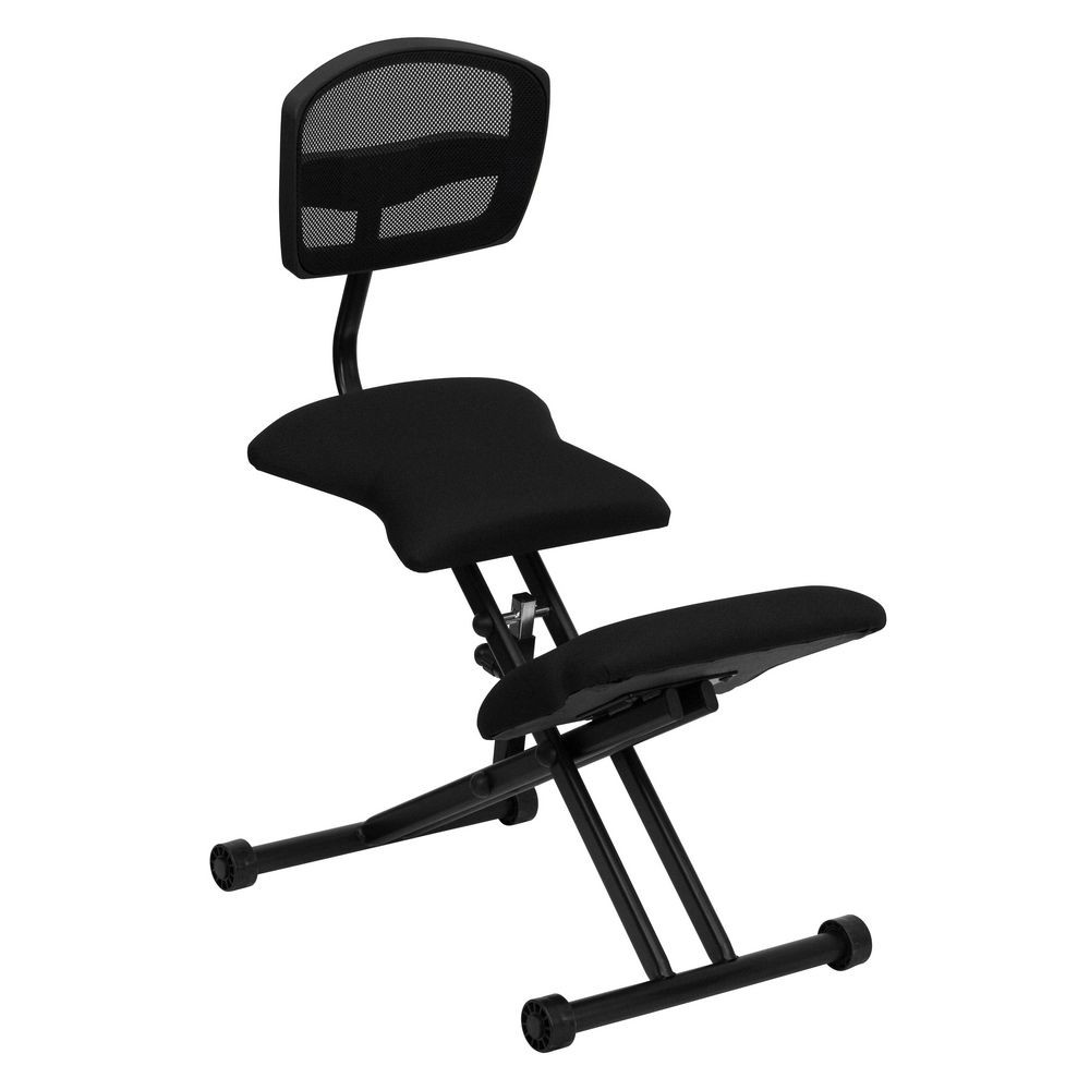 Flash Furniture WL-3440-GG Ergonomic Kneeling Chair with Black Mesh Back and Fabric Seat