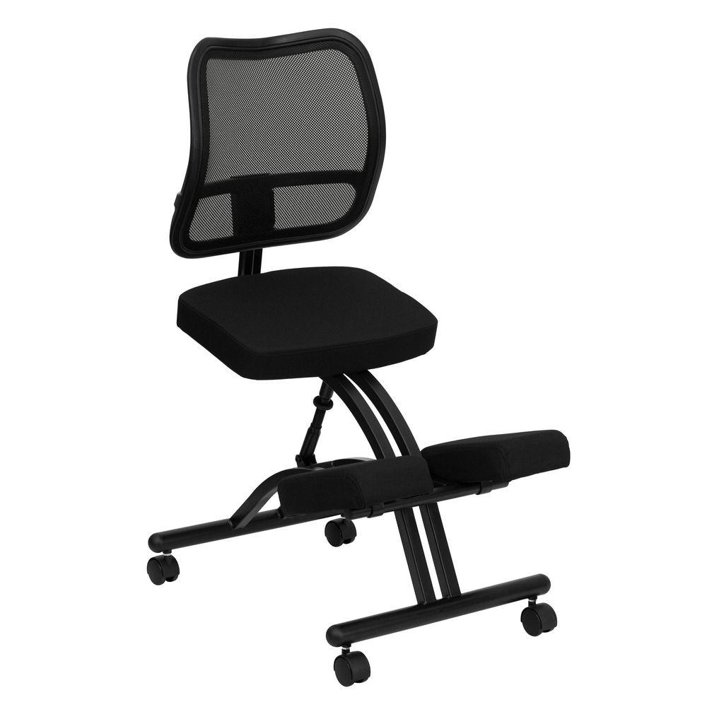 Flash Furniture WL-3520-GG Mobile Ergonomic Kneeling Chair with Black Curved Mesh Back and Fabric Seat