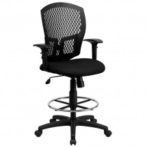 Flash Furniture WL-3958SYG-BK-AD-GG Mid-Back Designer Back Drafting Stool with Padded Fabric Seat and Arms