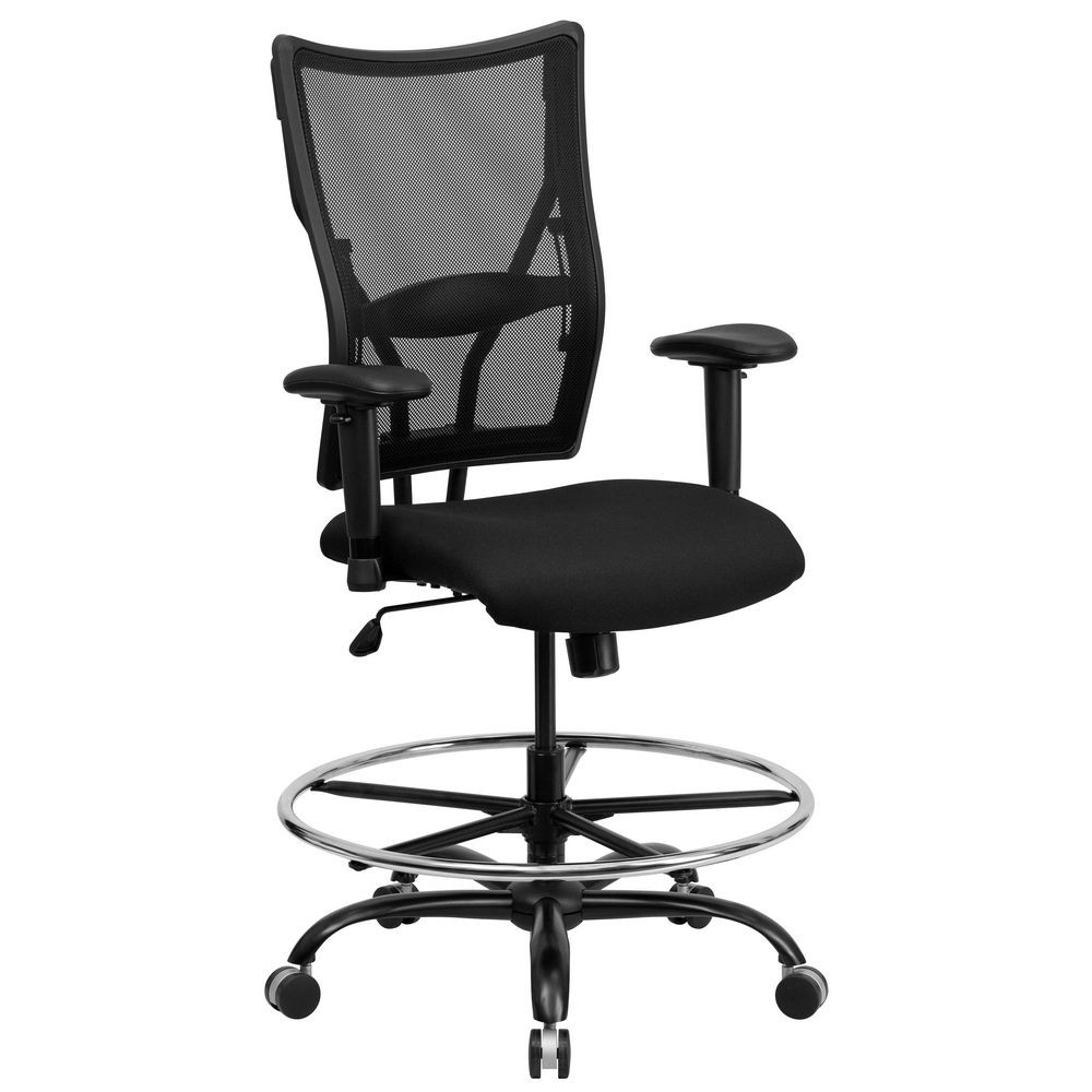 Flash Furniture WL-5029SYG-AD-GG HERCULES Series 400 lb. Capacity Big and Tall Black Mesh Drafting Stool with Arms