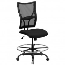 Flash Furniture WL-5029SYG-D-GG HERCULES Series 400 lb. Capacity Big and Tall Black Mesh Drafting Stool