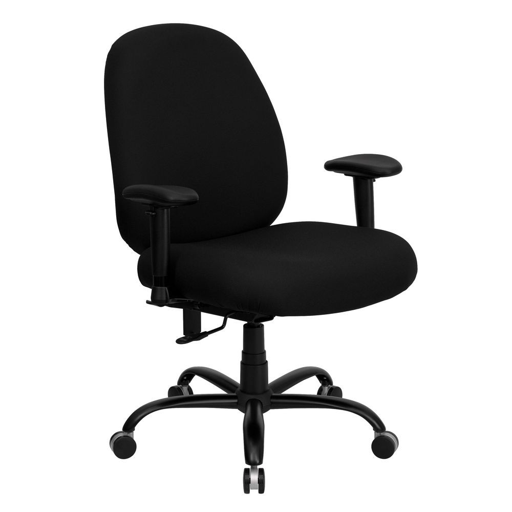 Flash Furniture WL-715MG-BK-A-GG HERCULES Series 400 lb. Capacity Big and Tall Black Fabric Office Chair with Arms and Extra Wide Seat