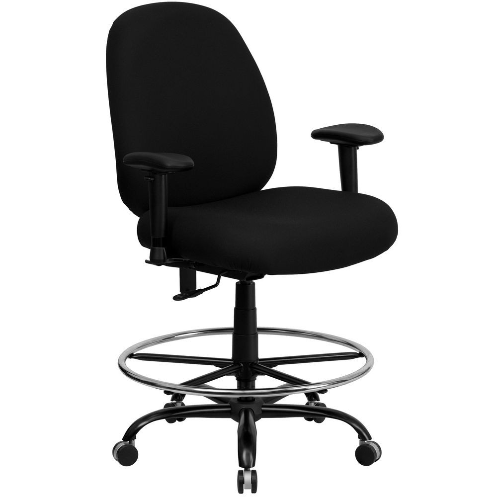 Flash Furniture WL-715MG-BK-AD-GG HERCULES Series 400 lb. Capacity Big and Tall Black Fabric Drafting Stool with Arms and Extra Wide Seat