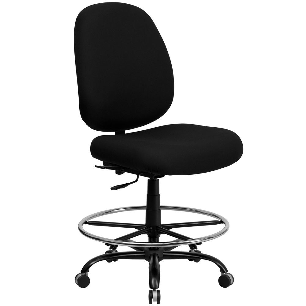 Flash Furniture WL-715MG-BK-D-GG HERCULES Series 400 lb. Capacity Big and Tall Black Fabric Drafting Stool with Extra Wide Seat