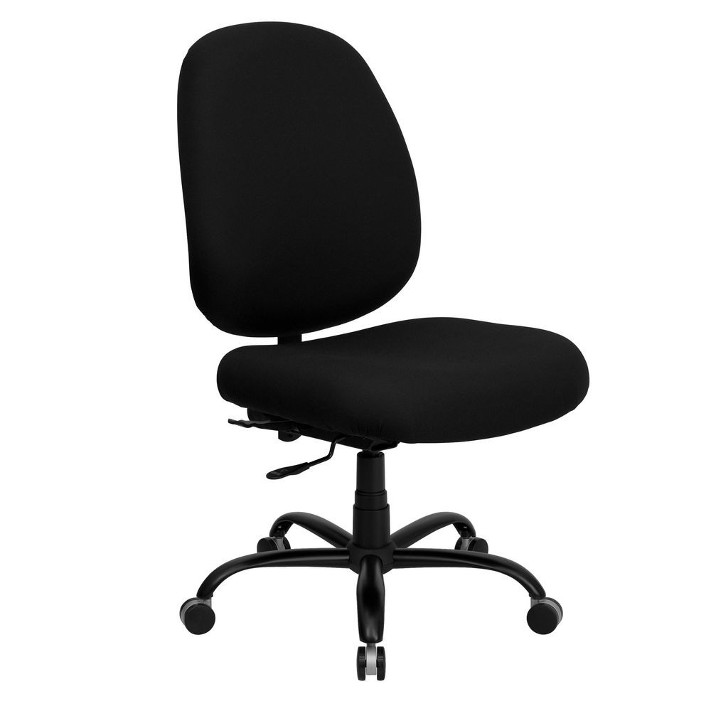 Flash Furniture WL-715MG-BK-GG HERCULES Series 400 lb. Capacity Big and Tall Black Fabric Office Chair with Extra Wide Seat