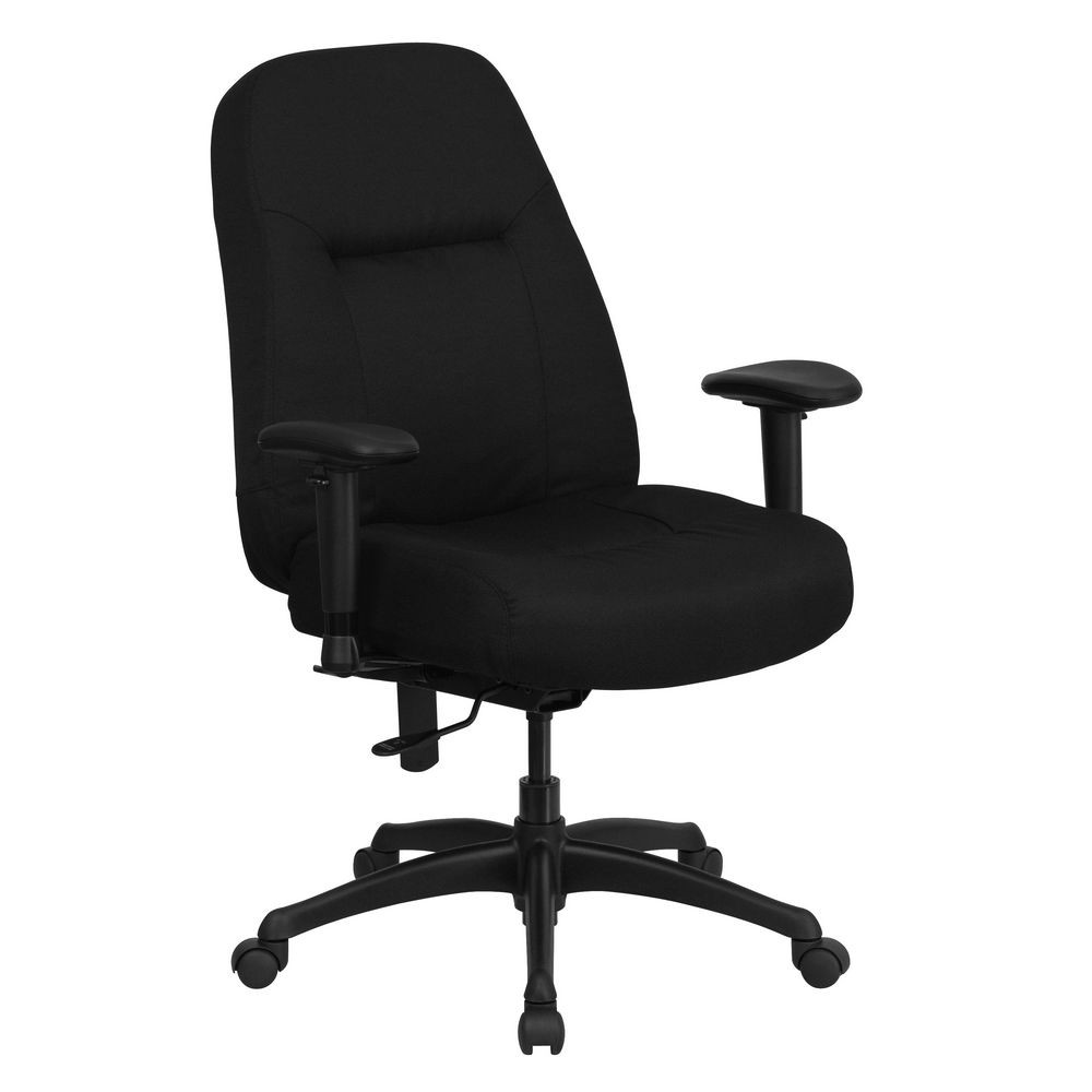 Flash Furniture WL-726MG-BK-A-GG HERCULES Series 400 lb. Capacity High Back Big and Tall Black Fabric Office Chair, Height Adjustable Arms . Extra Wide Seat