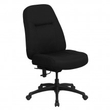 Flash Furniture WL-726MG-BK-GG HERCULES Series 400 lb. Capacity High Back Big and Tall Black Fabric Office Chair with Extra Wide Seat