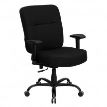 Flash Furniture WL-735SYG-BK-A-GG HERCULES Series 400 lb. Capacity Big and Tall Black Fabric Office Chair with Arms and Extra Wide Seat