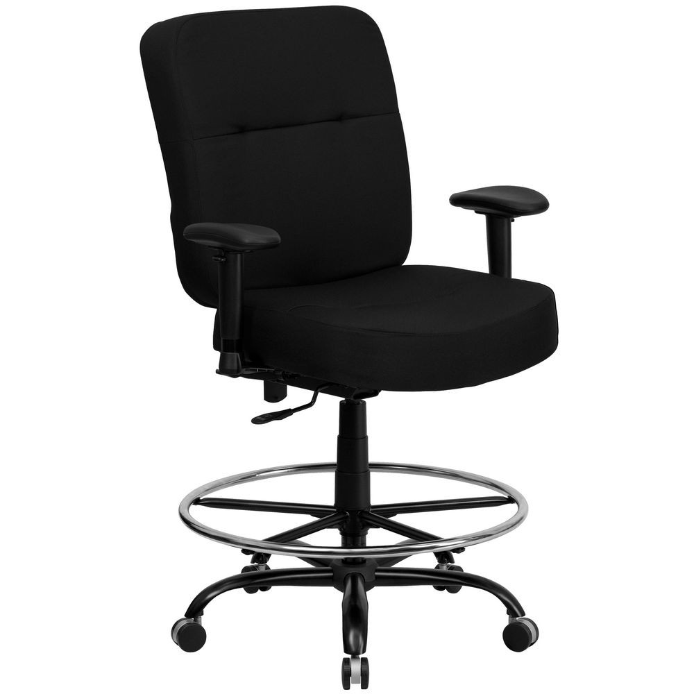 Flash Furniture WL-735SYG-BK-AD-GG HERCULES Series 400 lb. Capacity Big and Tall Black Fabric Drafting Stool with Arms and Extra Wide Seat