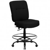 Flash Furniture WL-735SYG-BK-D-GG HERCULES Series 400 lb. Capacity Big and Tall Black Fabric Drafting Stool with Extra Wide Seat