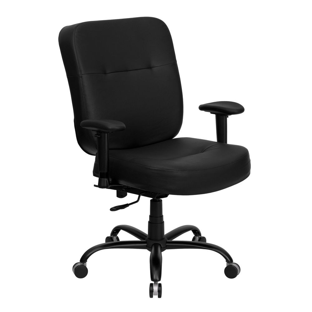 Flash Furniture WL-735SYG-BK-LEA-A-GG HERCULES Series 400 lb. Capacity Big and Tall Black Leather Office Chair with Arms and Extra Wide Seat