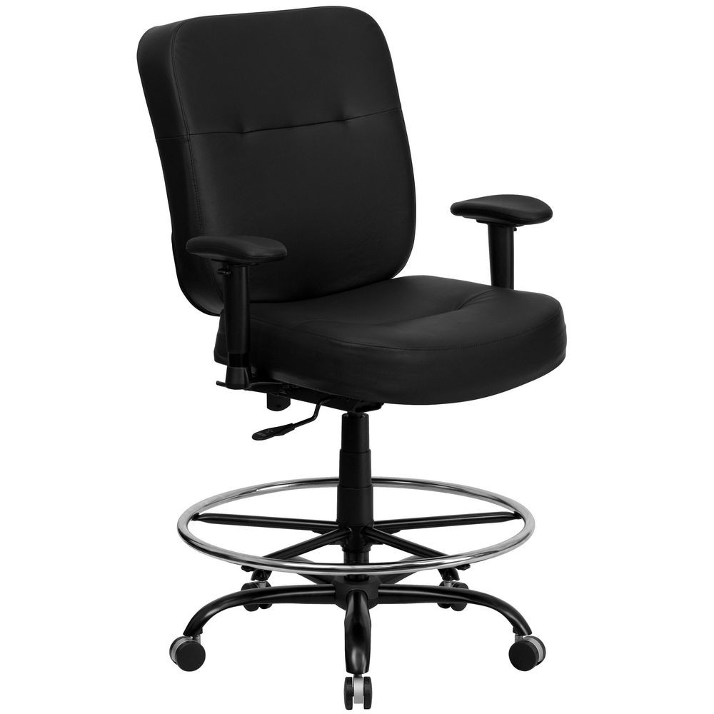 Flash Furniture WL-735SYG-BK-LEA-AD-GG HERCULES Series 400 lb. Capacity Big and Tall Black Leather Drafting Stool with Arms and Extra Wide Seat
