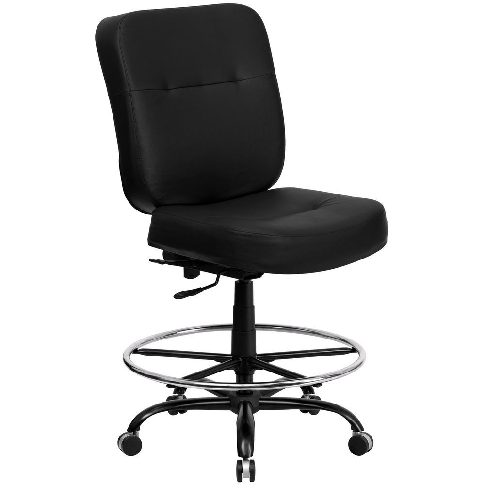 Flash Furniture WL-735SYG-BK-LEA-D-GG HERCULES Series 400 lb. Capacity Big and Tall Black Leather Drafting Stool with Extra Wide Seat