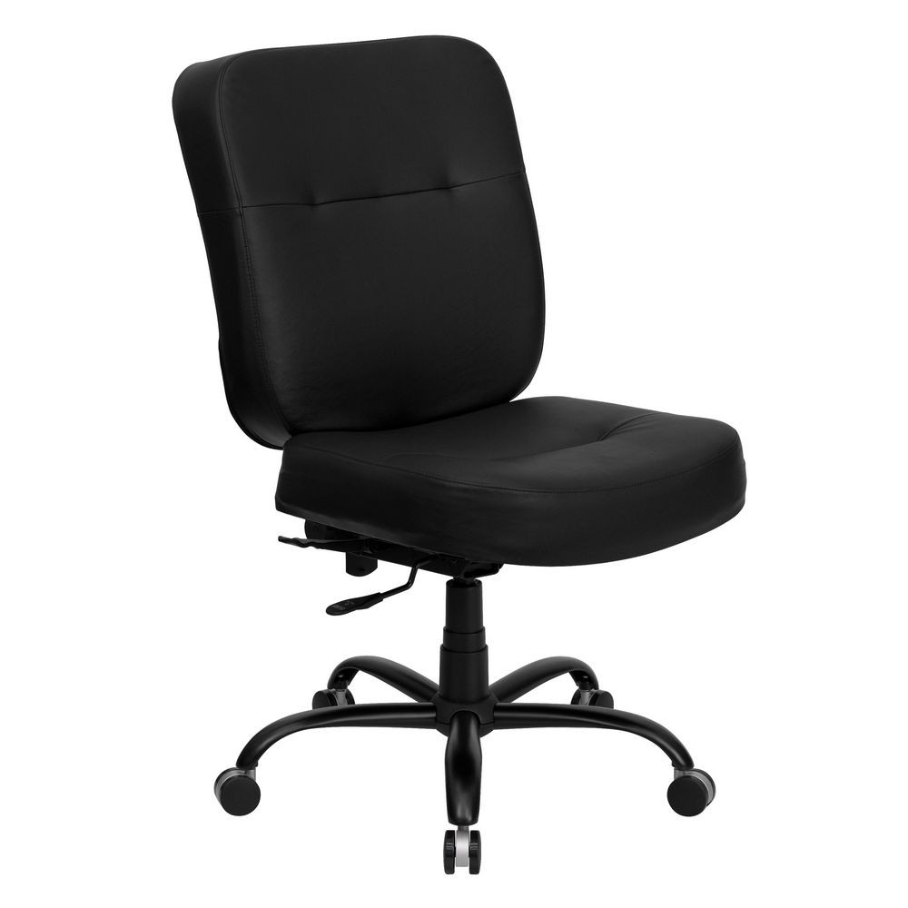 Flash Furniture WL-735SYG-BK-LEA-GG HERCULES Series 400 lb. Capacity Big and Tall Black Leather Office Chair with Extra Wide Seat