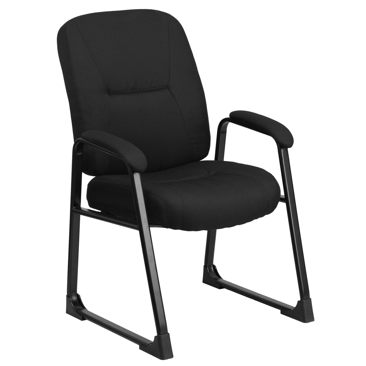 Flash Furniture WL-738AV-BK-GG HERCULES Series Big and Tall 400 lb. Capacity Black Fabric Executive Side Chair with Sled Base