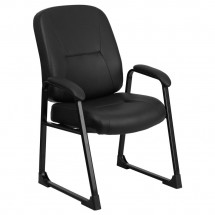 Flash Furniture WL-738AV-LEA-GG HERCULES Series Big and Tall 400 lb. Capacity Black Leather Executive Side Chair with Sled Base