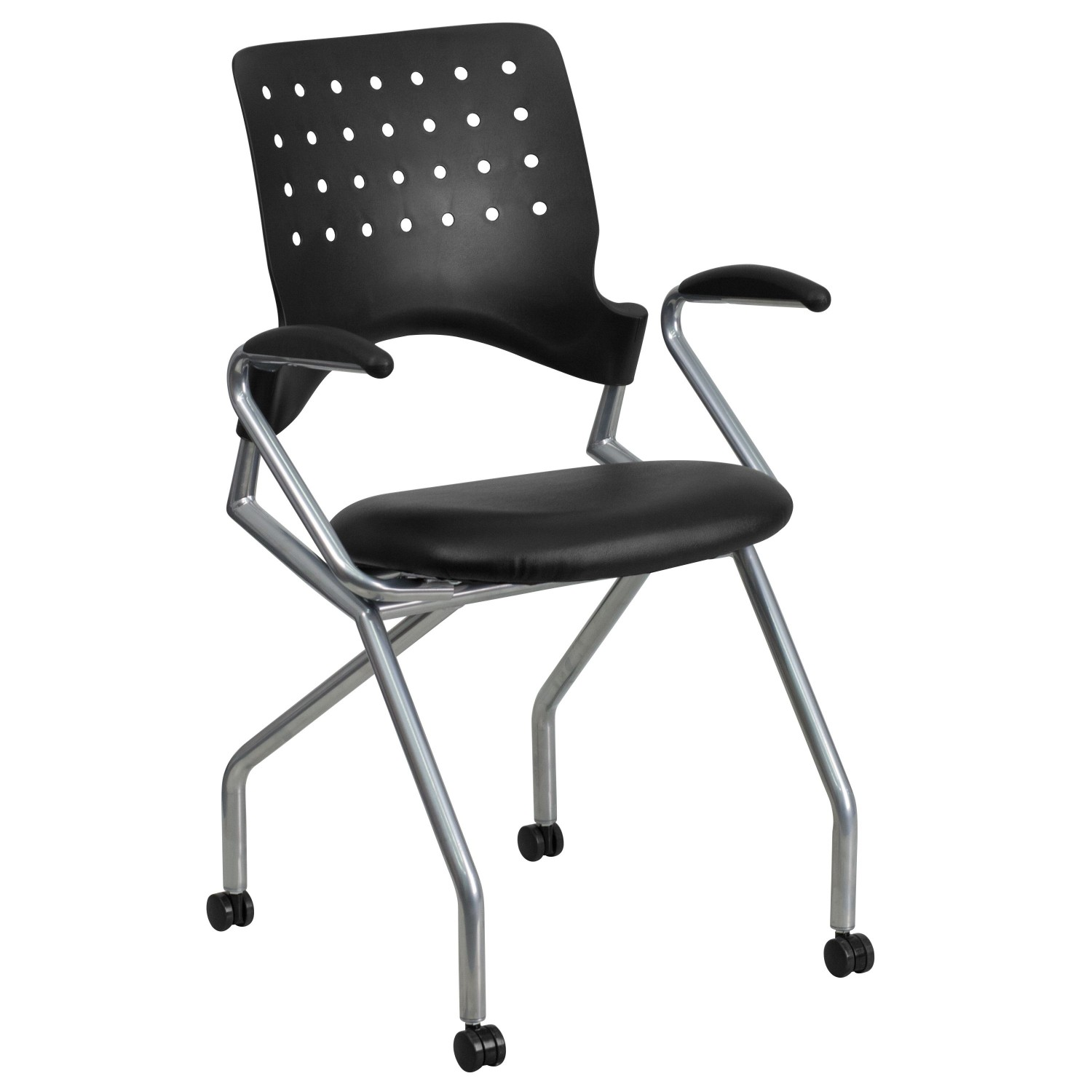 Flash Furniture WL-A224V-LEA-A-GG Galaxy Mobile Nesting Chair with Arms and Black Leather Seat
