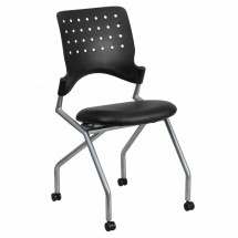 Flash Furniture WL-A224V-LEA-GG Galaxy Mobile Nesting Chair with Black Leather Seat