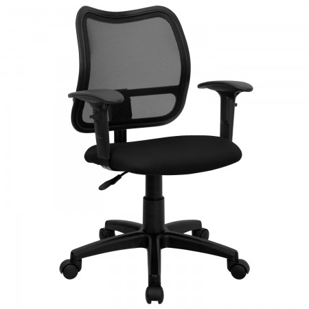 Flash Furniture WL-A277-BK-A-GG Mid-Back Mesh Task Chair with Black Fabric Seat and Arms
