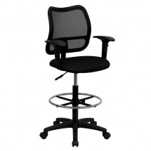 Flash Furniture WL-A277-BK-AD-GG Mid-Back Mesh Drafting Stool with Black Fabric Seat and Arms