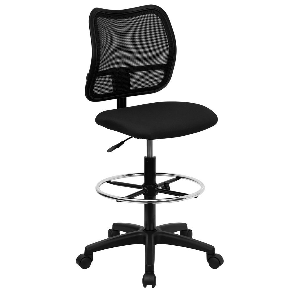 Flash Furniture WL-A277-BK-D-GG Mid-Back Mesh Drafting Stool with Black Fabric Seat