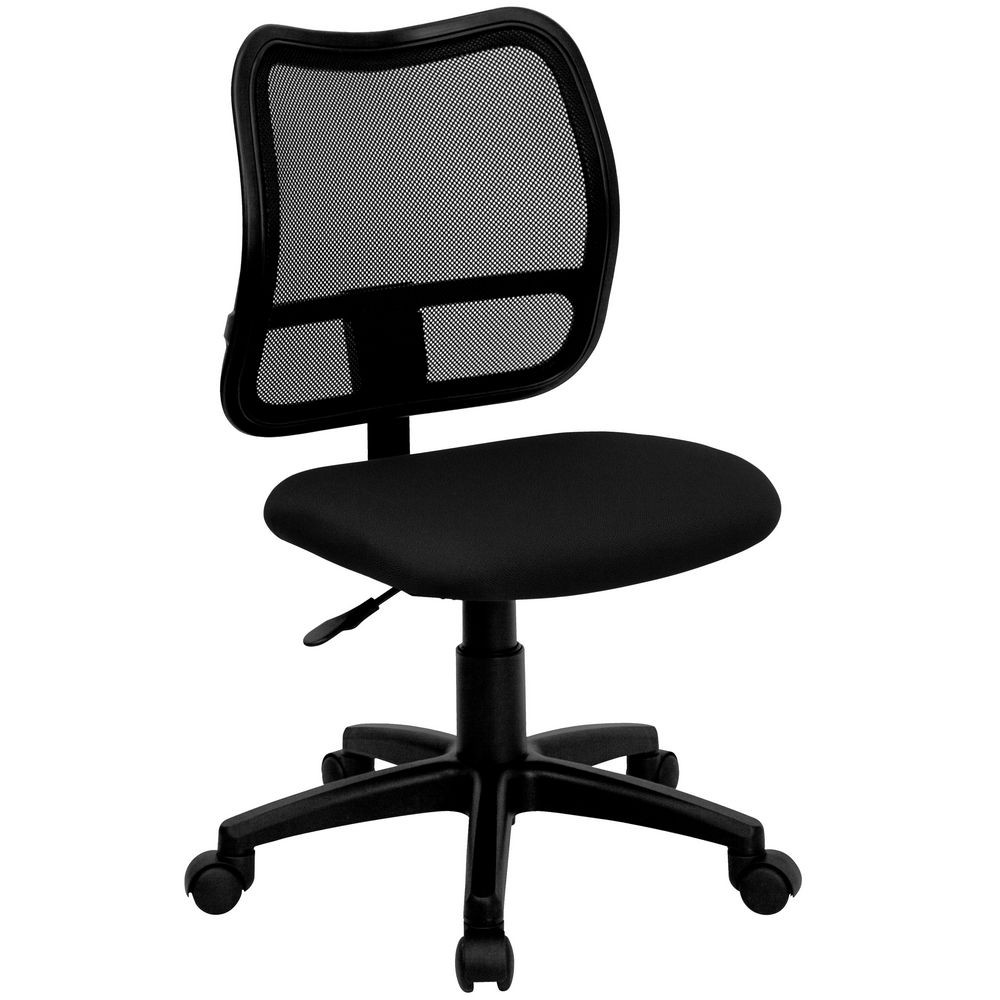 Flash Furniture WL A277 BK GG Mid Back Mesh Task Chair With Black Fabric Seat